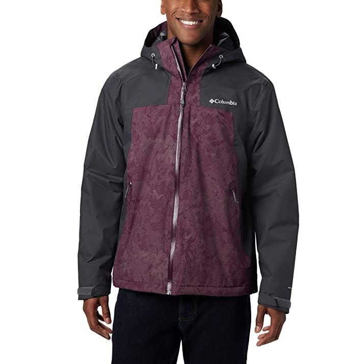 Columbia Men's Top Pine Insulated Rain Jacket, Black Cherry Clouds Camo Print, Shark, X-Large